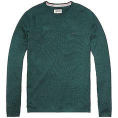 Klassischer Hilfiger Denim Strickpullover mit Rundhalsausschnitt und gerader Passform. Logostitching befindet sich auf der Brust.100% Baumwolle...