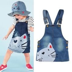 Cute Cat Baby Kids Girls Set Top T-shirt +Denim Jeans Overalls Dress Skirt in Clothing, Shoes & Accessories, Baby & Toddler Clothing, Girls' Clothing Baby Tutu Dresses, Little Girl Dresses, Baby Dress, Toddler Dress, Artisanats Denim, Denim Overalls, Toddler Fashion, Kids Fashion, Diy Tutu Skirt