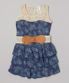 Another great find on #zulily! Blue Floral Tiered Belted Dress by Just Kids #zulilyfinds