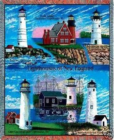 """""""New England Lighthouses Throw""""  This colorful cotton throw, woven on"""