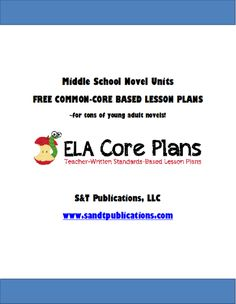 Awesome!  Free printable Common-Core lesson plans for middle school novels!