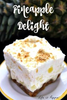 Pineapple Delight Recipe If you're a pineapple lover like me then this the dessert for you. The perfect combination of the graham cracker crust, the creamy buttery filling, and the fluffy, pineapple-studded whipped cream is seriously the best thing ever Just Desserts, Delicious Desserts, Dessert Recipes, Yummy Food, Cold Desserts, Gf Recipes, Sweet Desserts, Dessert Ideas, Easy Recipes