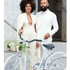 Solange Knowles wedding attire | She gets it right every time | Chic sophisticated capped jumpsuit #solangeknowles #solangeweddingjumpsuit