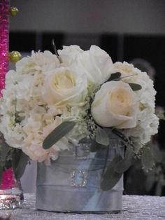 hydrenga and roses, I think the two make a gorgeous cut flower arrangement.