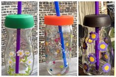 COMO RECICLAR FRASCOS DE VIDRIO.💛💜❤️ Recycled Jewelry, Recycled Bottles, Recycled Crafts, Christmas Lanterns, Christmas Crafts, Vasos Vintage, Recycling Containers, Diy Crafts Hacks, Painted Pots