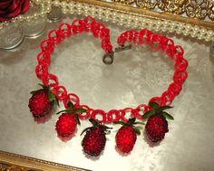 vintage plastic red berries necklace