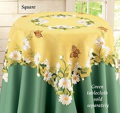 Butterfly Flowers Daisy Yellow Table Topper Square