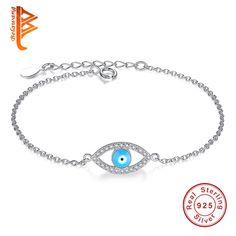 Top Quality Blue Evil Eye Austrian Crystals Bracelets for Women 925 Sterling Silver Women Bracelet Pulseira Jewelry Bijoux