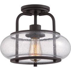 Seeded Glass Vintage Semi-Flush Ceiling Light - Small