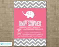 Elephant Baby Shower Invitation - Elephant Baby Shower Printable - Chevron - Girl Baby Shower Invitation - Baby Shower Printable - Pink. $16.00, via Etsy.