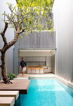 Una piscina de lujo - Decoración patios traseros, sacales partido