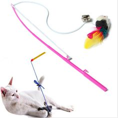 Pet cat toy Cute Design Steel Wire Feather Teaser Wand Plastic Toy for cats Color Multi Products For pet Free shipping