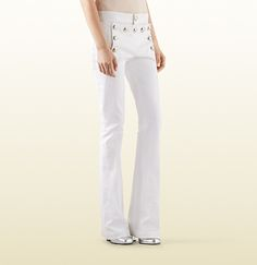 Gucci - white stretch cotton flared sailor pant 374559XD2779000