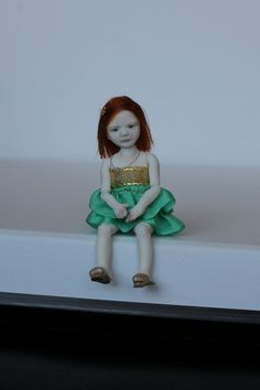 "Miniature Girl 4 year porcelain BJD dollhouse 1:12 by N.Yaskova (3.2"", 8cm)"