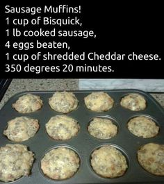 Sausage muffins These make a yummy breakfast on the run. Make them ahead and warm one up to take with you on those days you're running late. Breakfast Desayunos, Breakfast Items, Breakfast Dishes, Breakfast Recipes, Sausage Breakfast, Breakfast Casserole, Breakfast Cookies, Sausage Casserole, Fast Breakfast Ideas