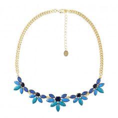 Plastron doré fleurs bleues