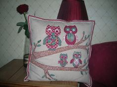 It's a Hoot! Owl applique cushion I made, an owl to represent each member of our family!