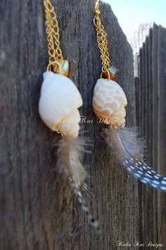 Sea Shell and Feather Dangle Earrings, Large Babylon shells, Ocean theme, Hawaiian sea shell Earrings