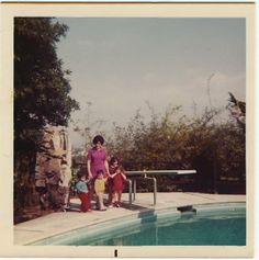 Vintage Color Photo Snapshot, 1960s: Woman with Children by Pool