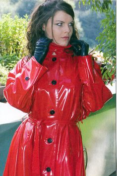 Red Raincoat, Red Leather, Leather Jacket, Rain Wear, Capes, Veronica, Plastic, Jackets, Fashion