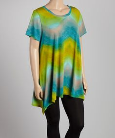 Another great find on #zulily! Green & Turquoise Sidetail Top - Plus by Allie & Rob #zulilyfinds