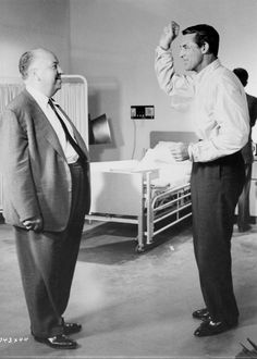 "tcm: ""Alfred Hitchcock and Cary Grant on the set of NORTH BY NORTHWEST ('59) """