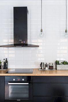 The 20 Best Ideas for Modern Kitchen Design - Best Home Ideas and Inspiration - 65 Gorgeous Modern Scandinavian Kitchen Design Trends - Black Kitchen Cabinets, Black Kitchens, Kitchen Tiles, New Kitchen, Home Kitchens, White Cupboards, Dark Cabinets, Kitchen Black, Grey Ikea Kitchen