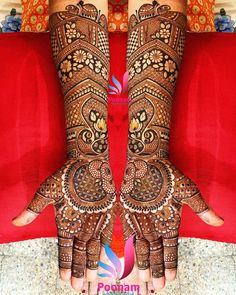 This traditional and symmetrical full hand mehndi design is proof that traditionalism never gets outdated. Adorned with multiple mandalas and flower patterns. Arabic Bridal Mehndi Designs, Engagement Mehndi Designs, Wedding Henna Designs, Henna Art Designs, Indian Mehndi Designs, Stylish Mehndi Designs, Mehndi Design Pictures, Beautiful Mehndi Design, Mehandi Designs