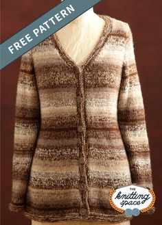 Get a classic cardigan look and craft this Heather Brown Knit Cardigan. It's a striped, low, V-necked, and buttoned-up cardi that's great with any outfit. The pattern is ideal for intermediate knitters to work on. | Discover over 5,500 free knitting patterns at theknittingspace.com Free Knitting, Winter Knitting Patterns, Knit Cardigan, Knitted Poncho, Heather Brown, Autumn Aesthetic, Free Pattern, Stay Warm, Autumn Fashion