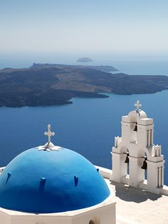 This is my Greece | Blue-domed church in Firostefani on Santorini island