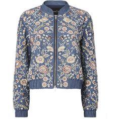 Sundaze Embroidered Denim Bomber Jacket