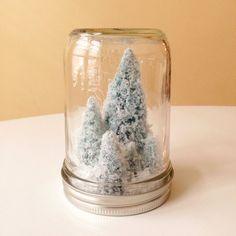 Half Pint Frosty White Trees Mason Jar Christmas by AJarMpls