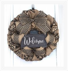 Excited to share this item from my #etsy shop: Natutal Burlap Wreath, Everyday Wreath, Natural, Chevron and scroll Wreaths, Wreath for All Year, Welcome Wreath, Winter Wreath, door wreath