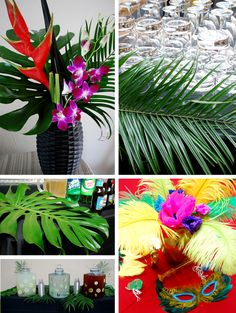 Colourful flowers, lush green palm leaves and masks for decoration. Cuban Party Theme, Rio Party, Carnival Themed Party, Festa Party, Luau Party, 40th Party Ideas, Creative Party Ideas, Party Themes, Brazil Party