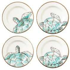 Four Asst Vietri Sea Turtle Assorted Salad Plates