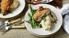 Chicken kiev recipe - BBC Food Herb Butter, Butter Chicken, Garlic Butter, Chicken Kiev Recipe, Chicken Recipes, Turkey Recipes, Tom Kerridge, Lemon Green Beans, Serving Plates