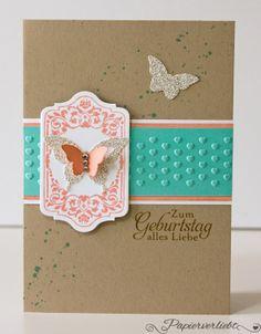 Geburtstagskarte mit Stampin' Up!, Tafelrunde, Schnetterlinge, Butterfly