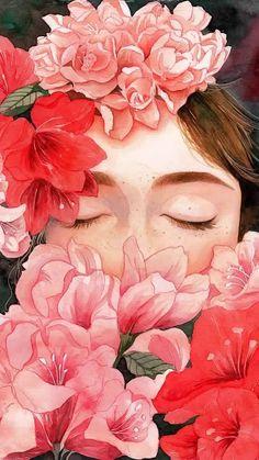 gambar flowers, wallpaper, and art Art And Illustration, Landscape Illustration, Portrait Illustration, Art Inspo, Kunst Inspo, Image Blog, Oeuvre D'art, Art Girl, Painting & Drawing