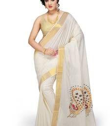 f7110ae8b8 Buy Fashionkiosks Cream cotton embroidary saree kerala-saree online ...