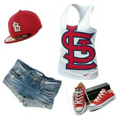 #STL Cardinals outfit. Hat and tank are from Lids.