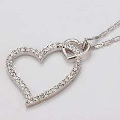 18K White Gold Love Heart Swarovski crystals wedding GP Necklace Au stocks