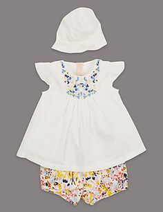 Louise Wilkinson 3 Piece Embroidered Top, Shorts & Hat Outfit with Modal Clothing