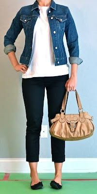 Outfit Posts: outfit post: black cropped pants or skirt, white shirt, jean jacket Outfit Jeans, Jean Jacket Outfits, Crop Pants Outfit, Black Leggings Outfit Summer, Jean Jacket Styles, Demin Jacket, Blazer Dress, Swag Dress, Outfit Winter