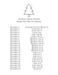 Advent calendar scripture (I am using this for Christmas 2014)