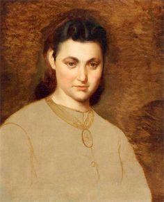 Artur Grottger - Portret dziewczynki z medalionem