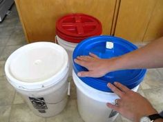 What are gamma lids? And if you're really organized, you can use the variety of available colors to color code your food storage buckets! Survival Videos, Survival Food, Homestead Survival, Survival Skills, Storage Buckets, Food Storage Containers, Emergency Preparation, Emergency Preparedness, Shelf Reliance