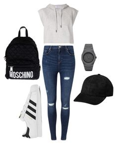 """black + white means gray"" by rachelinaevelyn on Polyvore featuring Miss Selfridge, adidas, CC and Moschino"