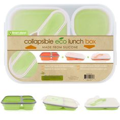 Made From Silicone    Pack your lunch in this Smart Planet EC-34 Large 3-Compartment Eco Silicone Collapsible Lunch Box