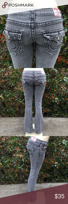 """True Religion Jeans True Religion Jeans Size 27 Joey Big T Inseam:  Between 32 1/4"""" and 32 1/2"""".  Inseam is measured laying flat from the crotch seam to the bottom of leg and is an approximate.  Photos are part of description.  Jeans are pre owned.  Jeans too small for my mannequin that is why they are not zipped up. 😜 Thank you! ❤️❤️❤️❤️ True Religion Jeans"""