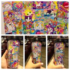 JoAnns kids' coloring page coffee mug, covered the page with Lisa Frank stickers. Make as many designs as you want. Just trace the shape of the paper that comes with the mug onto other paper/pictures and put into mug.